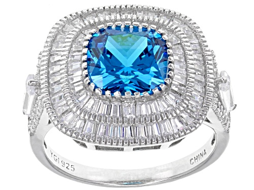 Photo of Bella Luce ® 7.67CTW Blue Apatite & White Diamond Simulants Rhodium Over Sterling Silver Ring - Size 7