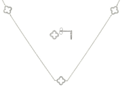 Photo of Bella Luce ® 1.40CTW White Diamond Simulant Rhodium Over Silver Necklace & Earrings Set