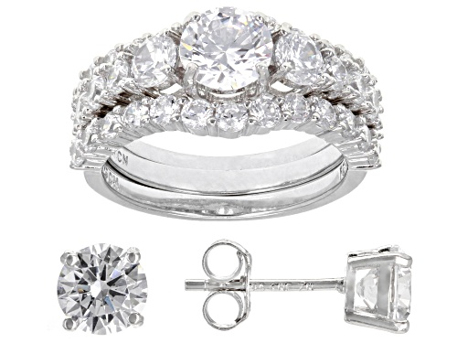 Bella Luce® 7.95ctw Rhodium Over Sterling Silver Ring With Bands and Earrings