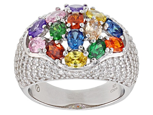 Photo of Bella Luce ® 6.92CTW Multicolor Gemstone Simulants Rhodium Over Sterling Silver Ring - Size 7