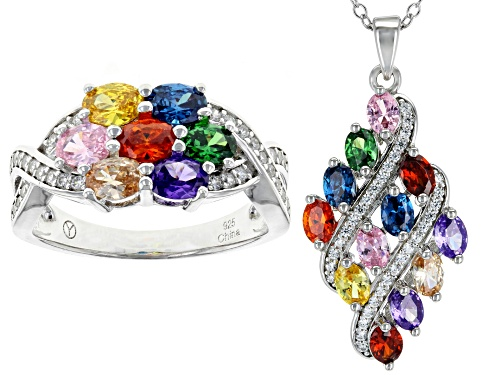 Photo of Bella Luce ® 3.31CTW Multicolor Gemstone Simulants Rhodium Over Silver Pendant With Chain & Ring