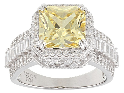 Photo of Bella Luce ® 7.08CTW Canary & White Diamond Simulants Rhodium Over Sterling Silver Ring - Size 8