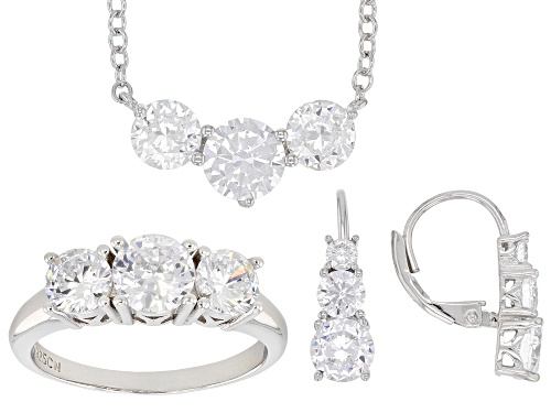 Photo of Bella Luce ® 12.25CTW White Diamond Simulant Rhodium Over Silver Ring, Earrings, & Necklace Set