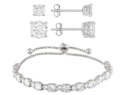 Photo of Bella Luce ® 16.33CTW White Diamond Simulant Rhodium Over Silver Earrings & Bracelet Set