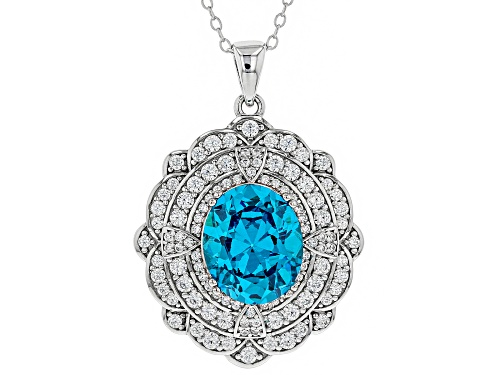 Photo of Bella Luce®9.93CTW Esotica™Neon Apatite & Diamond Simulants Rhodium Over Silver Pendant With Chain