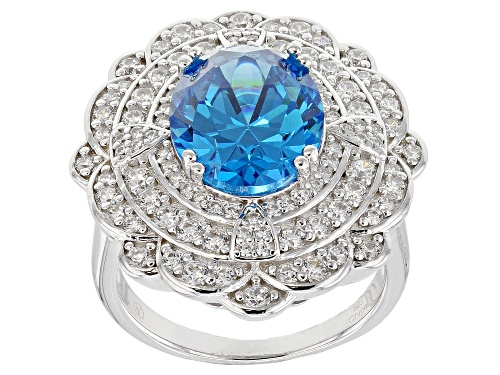 Photo of Bella Luce ® 9.93CTW Esotica ™ Neon Apatite & White Diamond Simulants Rhodium Over Silver Ring - Size 7