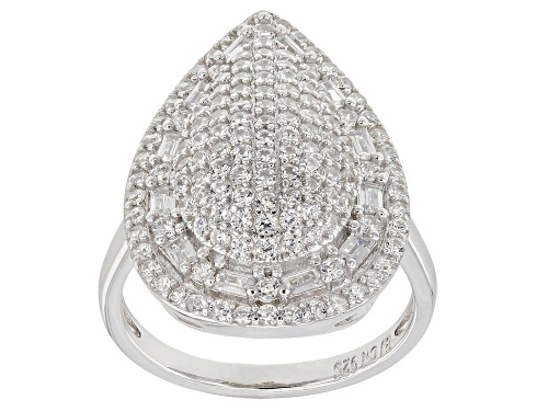 Bella Luce ® 3.55CTW White Diamond Simulant Rhodium Over Sterling Silver Ring - Size 6