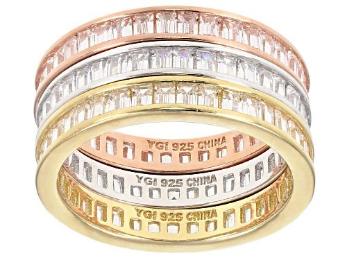 Photo of Bella Luce®5.61CTW White Diamond Simulant Eterno™Rose, Yellow,&Rhodium Over Silver Ring Set Of 3 - Size 7