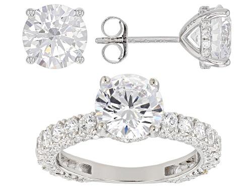 Photo of Bella Luce ® 12.67CTW White Diamond Simulant Rhodium Over Silver Ring & Earrings Set (7.63CTW DEW)