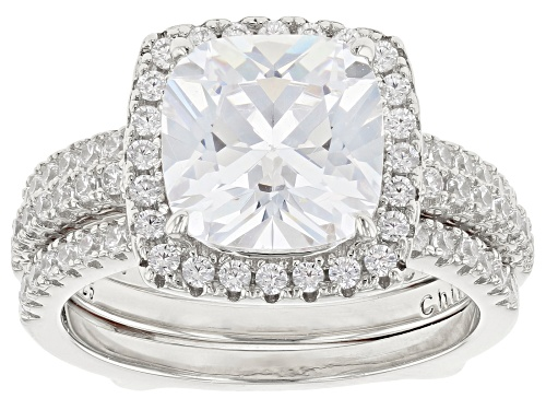 Photo of Bella Luce ® 8.05CTW White Diamond Simulant Rhodium Over Sterling Silver Ring With Guard - Size 8