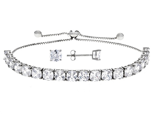 Photo of Bella Luce ® 15.56CTW Diamond Simulant Rhodium Over Silver Adjustable Bracelet And Earrings Set