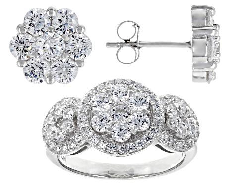 Photo of Bella Luce ® 5.44CTW White Diamond Simulant Rhodium Over Silver Ring & Earrings Set (3.22CTW DEW)