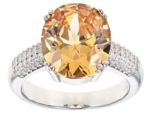 Photo of Bella Luce ® 10.50ctw Champagne And White Diamond Simulants Rhodium Over Silver Ring - Size 6