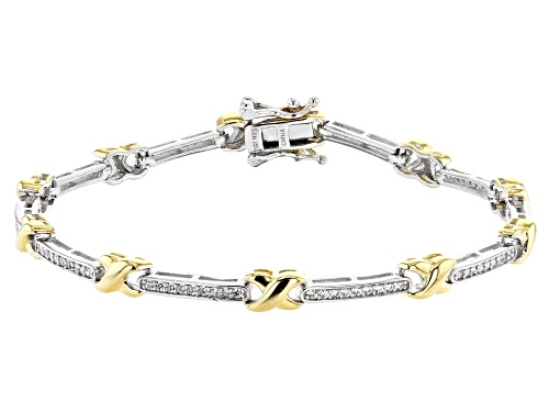 Photo of Bella Luce ® 0.90ctw White Diamond Simulant Rhodium Over Silver And Eterno™ Yellow Bracelet - Size 7