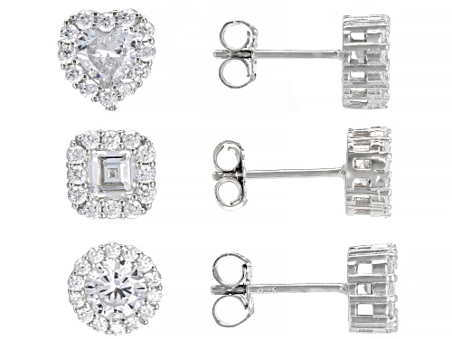 Photo of Bella Luce ® 5.00ctw Rhodium Over Sterling Silver Round, Heart, And Square Stud Earring Set Of 3