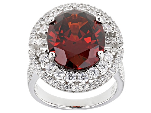 Photo of Bella Luce ® 10.74ctw Garnet and Diamond Simulants Rhodium Over Sterling Silver Ring - Size 7