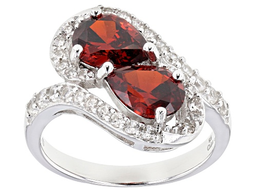 Photo of Bella Luce ® 3.80ctw Garnet And White Diamond Simulants Rhodium Over Sterling Silver Ring - Size 8