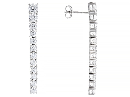 Photo of Bella Luce ® 5.61ctw White Diamond Simulant Rhodium Over Silver Drop Earrings (3.54ctw DEW)
