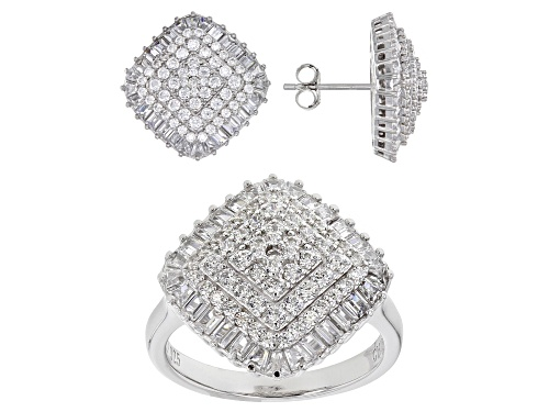 Photo of Bella Luce ® 7.27ctw White Diamond Simulant Rhodium Over Silver Ring And Earrings (3.66ctw DEW)