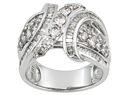 Photo of 2.00ctw Round & Baguette Diamond 10k White Gold Ring - Size 7