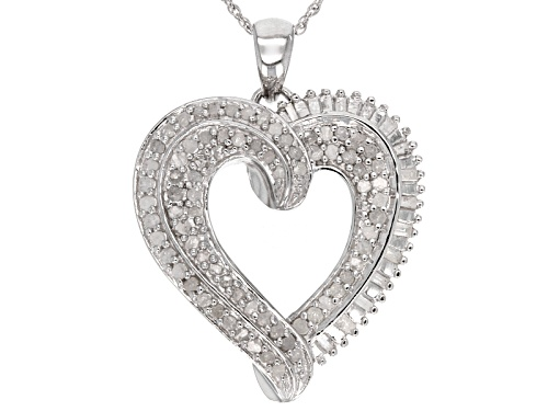 Photo of 1.00ctw Round & Baguette Diamond Rhodium Over Sterling Silver Heart Pendant