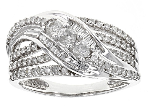Photo of .77ctw Round & Baguette White Diamond 14k White Gold Crossover Ring - Size 7