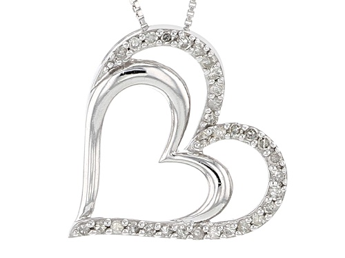 Photo of .25ctw Round White Diamond Rhodium Over Sterling Silver Heart Pendant With 18 Inch Box Chain
