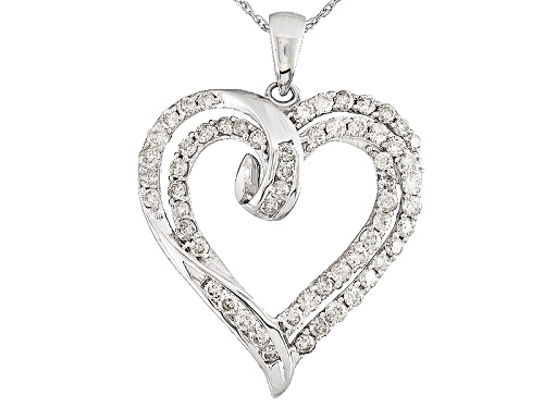 1.00ctw Round White Diamond 10k Whit Gold Heart Pendant With 18 Inch Rope Chain