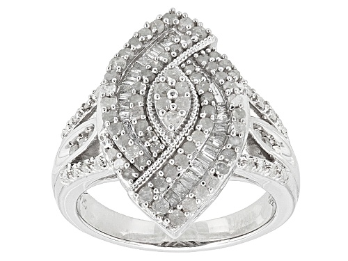 Photo of 1.01ctw Round And Baguette White Diamond Rhodium Over Sterling Silver Ring - Size 7