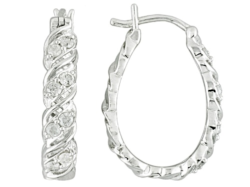 Photo of .50ctw Round White Diamond Rhodium Over Sterling Silver Hoop Earrings