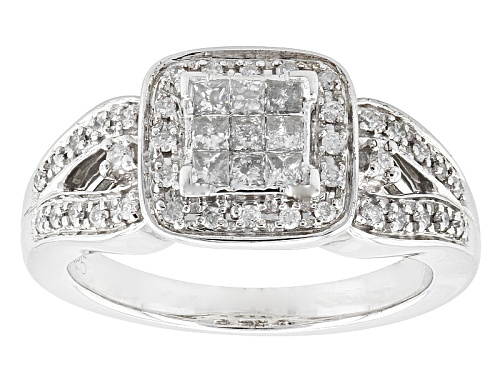 Photo of .40ctw Round And Princess Cut White Diamond Rhodium Over Sterling Silver Ring - Size 7