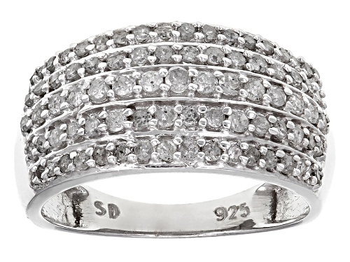 Photo of .89ctw Round White Diamond Rhodium Over Sterling Silver Ring - Size 7