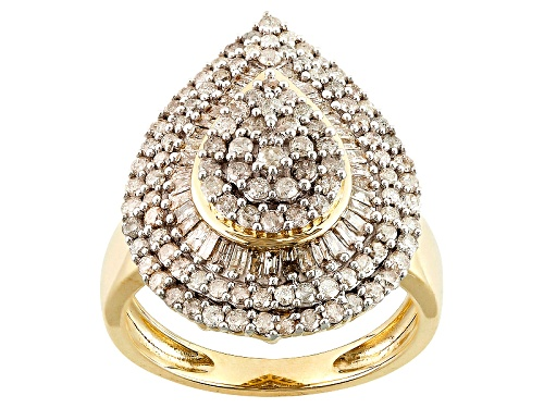 Photo of 1.25ctw Round And Baguette White Diamond 10k Yellow Gold Ring - Size 8
