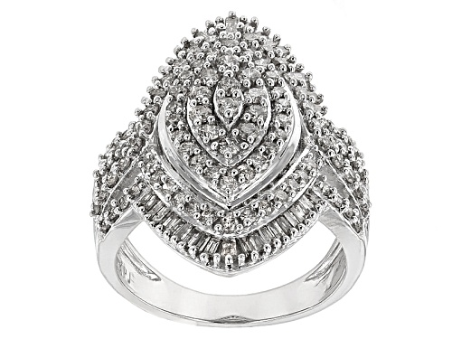 Photo of 1.50ctw Round And Baguette White Diamond 10k White Gold Ring - Size 6