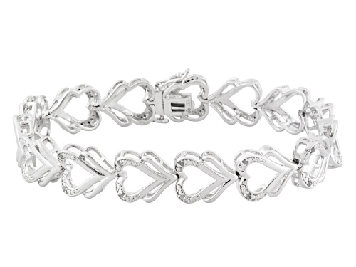 Photo of Emulous™ .10ctw Diamond Rhodium Over Brass Heart Bracelet - Size 7.25