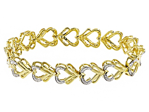 Photo of Emulous™ .10ctw Round White Diamond 18k Yellow Gold Over Brass Heart Bracelet - Size 7.5