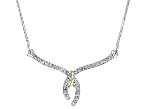 Photo of .25ctw Round White Diamond Rhodium Over Sterling Silver Necklace With 14k Yellow Gold Accent - Size 18
