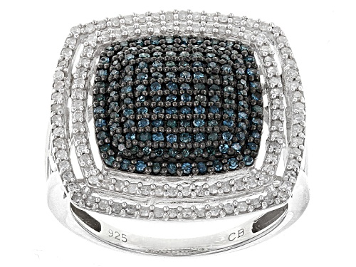 Photo of .75ctw Round Blue And White Diamond Rhodium Over Sterling Silver Ring - Size 7