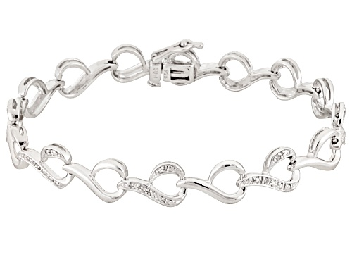 Photo of .10ctw Round White Diamond Rhodium Over Sterling Silver Bracelet - Size 7.25
