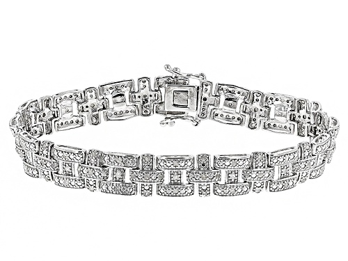 1.00ctw Round White Diamond Rhodium Over Sterling Silver Bracelet - Size 7.5