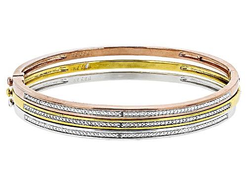 Photo of Emulous™ White Diamond Accent 14k Yellow Gold,Rose Gold & Rhodium Over Brass 3 Piece Bracelet Set - Size 7