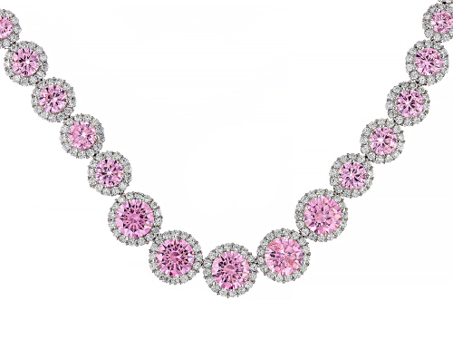 Photo of Bella Luce ® 71.18ctw Pink And White Diamond Simulants Rhodium Over Sterling Silver Necklace - Size 18