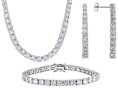 Photo of Bella Luce ® 76.69ctw White Diamond Simulant Rhodium Over Silver Jewelry Set