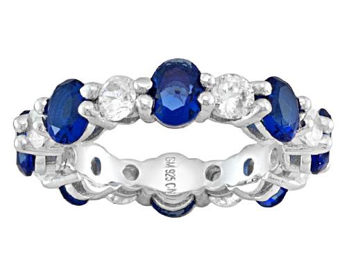 Photo of Bella Luce ® 4.42ctw Blue Sapphire Simulant & Diamond Simulant Rhodium Over Silver Band Ring - Size 7