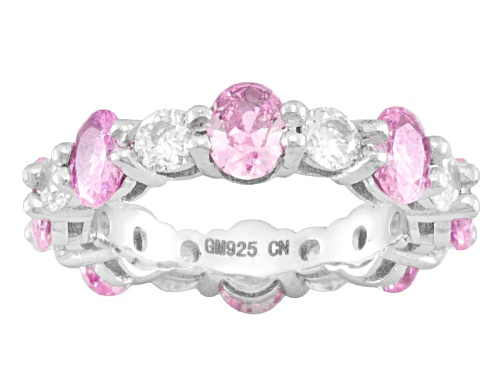 Photo of Bella Luce ® 4.42ctw Oval & Round Pink & White Diamond Simulant Rhodium Over Silver Band Ring - Size 7