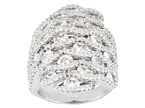 Bella Luce ® 10.56ctw Oval And Round Rhodium Over Sterling Silver Ring - Size 10