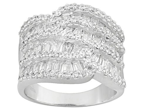 Photo of Bella Luce ® 4.20ctw Baguette And Round Rhodium Over Sterling Silver Ring - Size 5