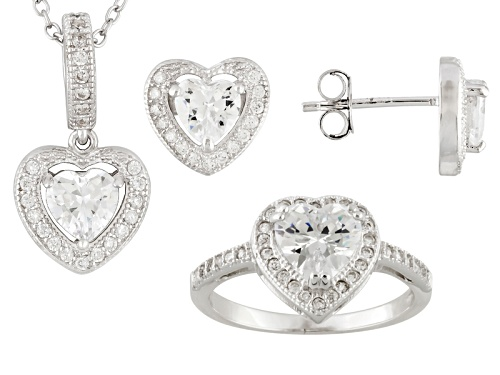 Photo of Bella Luce ® 5.00ctw Heart Shape And Round Rhodium Over Sterling Silver Jewelry Set