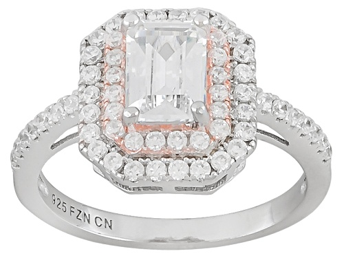 Photo of Bella Luce ® 2.35ctw Emerald Cut & Round Rhodium Over & 14k Rose Gold Over Silver Ring - Size 6