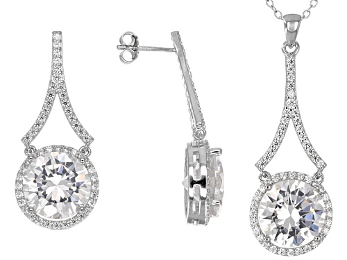 Photo of Bella Luce ® 27.04ctw Round Rhodium Over Sterling Silver Pendant And Earrings Set